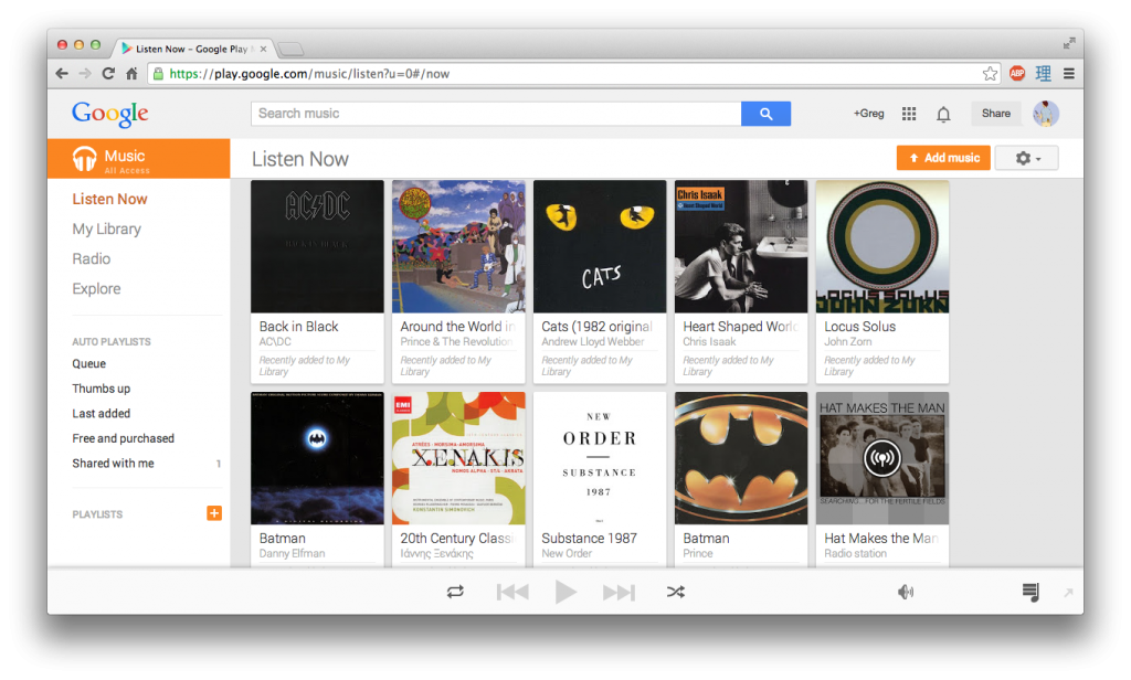 [My Google Play Listen Now Library]