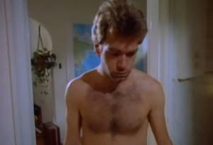 [Huey Lewis lacks a shirt]