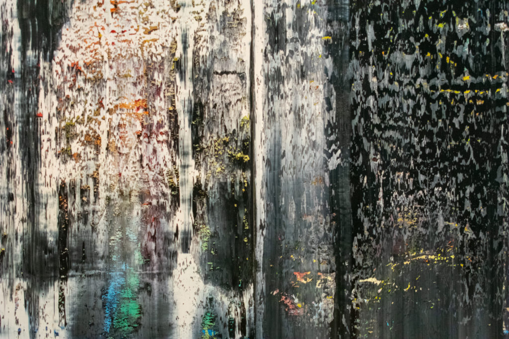 [A detail of the painting December by Gerhard Richter at the St. Louis Art Museum]